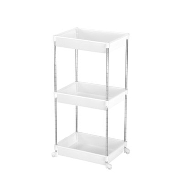Picture of 3 TIER WHITE PLASTIC CHROME STEEL TUBE FRAME SHELF UNIT
