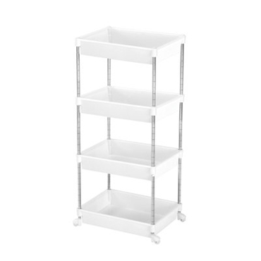 Picture of 4 TIER WHITE PLASTIC CHROME STEEL TUBE FRAME SHELF UNIT