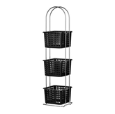 Picture of 3 TIER BLACK PLASTIC BASKET WITH CHROME FRAME STORAGE UNIT
