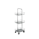 Picture of 3 TIER SQUARE BLACK GLASS BATHROOM UTILITY ROOM STORAGE TROLLEY