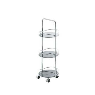 Picture of 3 TIER CIRCLE BLACK GLASS BATHROOM UTILITY ROOM STORAGE TROLLEY