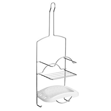 Picture of 2 TIER CHROME WITH WHITE SOAP DISH CADDY STORAGE UNIT