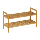 Picture of 2 TIER WALNUT WOOD SHOE TRAINER RACK