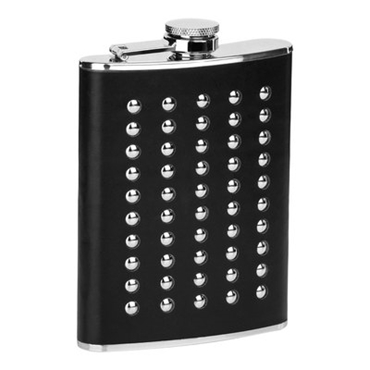 Picture of STAINLESS STEEL STUDDED BLACK LEATHER EFFECT 8oz HIP FLASK