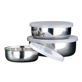 Picture of SET OF 3 STAINLESS STEEL PLASTIC LIDS STORAGE BOWLS KITCHEN BAR