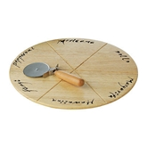 Picture of PIZZA BOARD SET RUBBERWOOD BOARD WITH PIZZA CUTTER