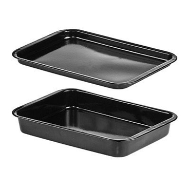 Picture of 2 PIECE ROASTING DISH/BAKING TRAY SET BLACK ENAMEL KITCHEN CAFE