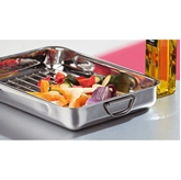 Picture of LARGE OVEN ROASTING TRAY STAINLESS STEEL KITCHEN RESTAURANT