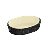 Picture of CERAMIC NOUVEAU CUISINE SERVING DISH BOWL BLACK BASKET