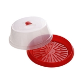 Picture of CLEAR/RED PLASTIC CAKE STORER AND SERVER