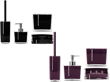 Picture of ACRYLIC BATHROOM SET LOTION DISPENSER SOAP DISH TOILET & TOOTHBRUSH BLACK PURPLE