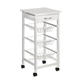 Picture of WHITE MDF KITCHEN TROLLEY 3 DRAW STORAGE BASKET