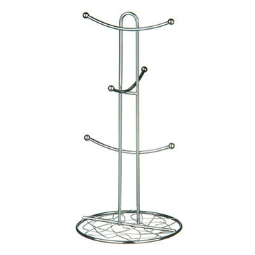Picture of CHROME WIRE GEO 6 CUP MUG TREE STAND TEA COFFEE