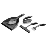 Picture of 5 PIECE GREY AND BLACK DUSTPAN SET SOFT GRIP CLEANING SWEEPING BRUSH PAN