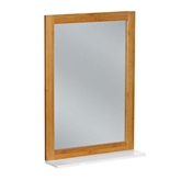 Picture of BAMBOO FRAME WALL MIRROR MDF WHITE FINISH LOWER SHELF