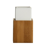 Picture of WHITE CERAMIC BAMBOO STAND UTILITY TUMBLER