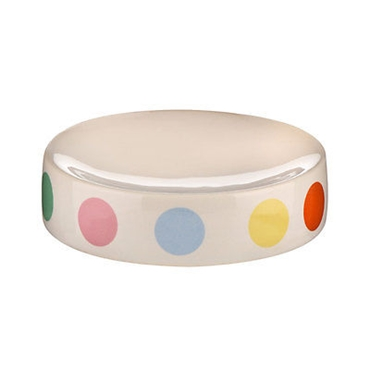 Picture of MULTI COLOURED DOT STONEWARE KITCHEN BATHROOM UTILITY SOAP DISH