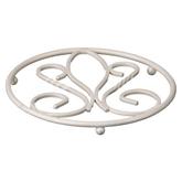 Picture of Circular Cream Metal De Lis Kitchen Pan Trivet  H2 x W18 x D18cm Table Top Saver