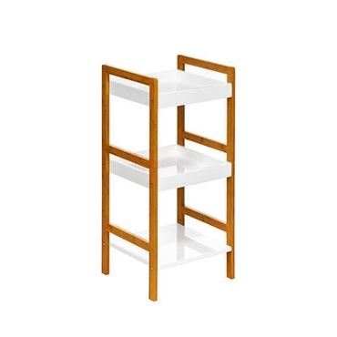 Picture of 3 TIER WHITE HIGH GLOSS BAMBOO MDF SHELF UNIT STORAGE