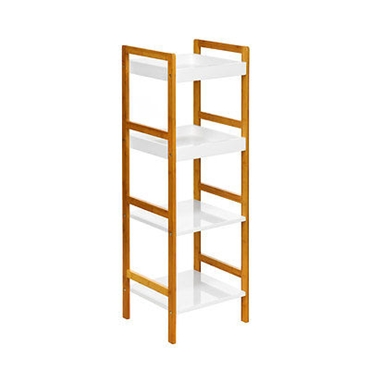 Picture of 4 TIER WHITE HIGH GLOSS BAMBOO MDF SHELF UNIT STORAGE