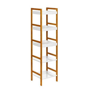 Picture of 5 TIER WHITE HIGH GLOSS BAMBOO MDF SHELF UNIT STORAGE