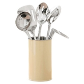 Picture of 5 PIECE KITCHEN UTILITY CREAM ENAMEL CANISTER TOOL SET