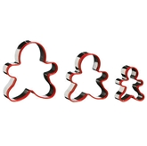 Picture of 3 PIECE GINGERBREAD MAN CUTTER SET RED PVC/STAINLESS STEEL