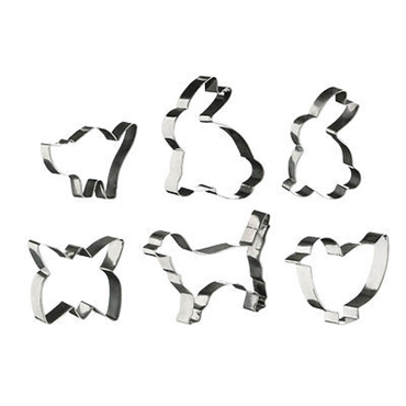 Picture of 6 PIECE ANIMAL SHAPE STAINLESS STEEL PASTRY COOKIE CUTTER SLICER SET