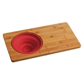 Picture of STYLISH RED SILICONE COLLAPSIBLE COLANDER BAMBOO CHOPPING BOARD