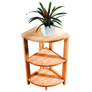 Picture of 3 TIER NATURAL TROPICAL HEVEA WOOD CORNER SHELVE SHELF UNIT