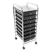 Picture of STORAGE TROLLEY 8 BLACK PLASTIC DRAWERS WITH CHROME STEEL TUBE FRAME