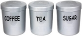 Picture of Silver Plastic Tea Coffee Sugar Canister Jars Storage Set