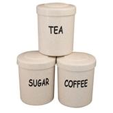 Picture of Cream Plastic Tea Coffee Sugar Canister Jars Storage Set