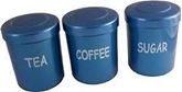 Picture of Blue Plastic Tea Coffee Sugar Canister Jars Storage Set