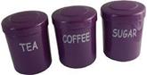 Picture of Plum Purple Plastic Tea Coffee Sugar Canister Jars Storage Set