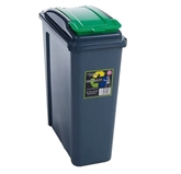 Picture of Green Plastic 25 Litre Kitchen Garden Waste Rubbish Recycle Bin 4 Colours