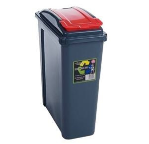 Picture of Red Plastic 25 Litre Kitchen Garden Waste Rubbish Recycle Bin 4 Colours