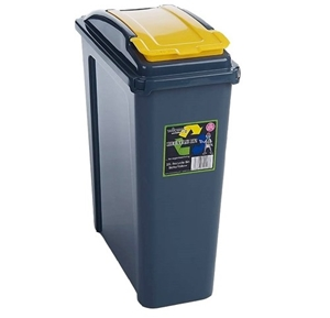 Picture of Yellow Plastic 25 Litre Kitchen Garden Waste Rubbish Recycle Bin 4 Colours