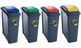 Picture of Set Of 4 Plastic 25 Litre Kitchen Garden Waste Rubbish Recycle Bin 4 Colours, Blue, Yellow, Green & Red