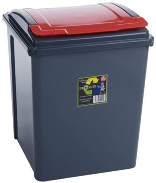 Picture of Red Plastic 50 Litre Kitchen Garden Waste Rubbish Recycle Bin 4 Colours