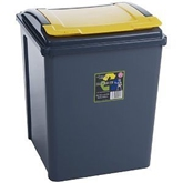 Picture of Yellow Plastic 50 Litre Kitchen Garden Waste Rubbish Recycle Bin 4 Colours