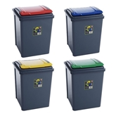 Picture of Set Of 4 Plastic 50 Litre Kitchen Garden Waste Rubbish Recycle Bin 4 Colours, Red, Yellow, Blue & Green