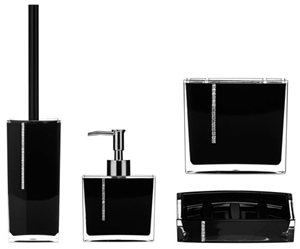 Picture of ACRYLIC BATHROOM SET LOTION DISPENSER SOAP DISH TOILET & TOOTHBRUSH BLACK PURPLE Black
