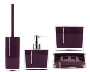 Picture of ACRYLIC BATHROOM SET LOTION DISPENSER SOAP DISH TOILET & TOOTHBRUSH BLACK PURPLE Purple