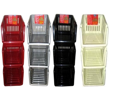 Picture of Plastic 3 Tier Kitchen Stackers Storage Baskets 4 Assorted Colours