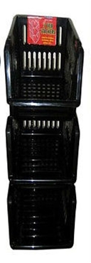 Picture of Black Plastic 3 Tier Kitchen Stackers Storage Baskets 4 Assorted Colours