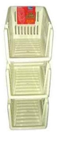 Picture of Cream Plastic 3 Tier Kitchen Stackers Storage Baskets 4 Assorted Colours