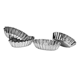 Picture of CAKE MOULDS SET OF 4 ROUND OVAL FLUTED TINPLATE DECORATIVE BAKE FOOD KITCHEN NEW