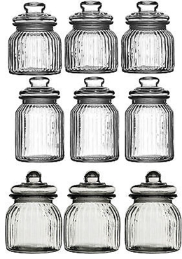 Picture of Storage Jars Tea Coffee Sugar Canisters Ribbed Glass 3 Different Capacity Jars