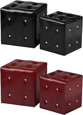 Picture of Stools Set Of 2 Crocodile Leather Effect  With Diamante Detail In Two Colors